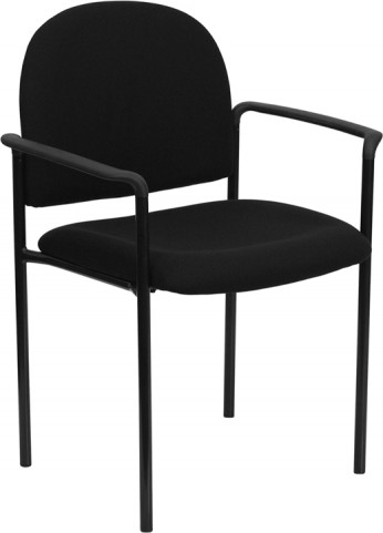 1000214 Black Comfortable Stackable Steel Side Chair with Arms