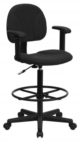 Black Patterned Ergonomic Drafting Arm Stool
