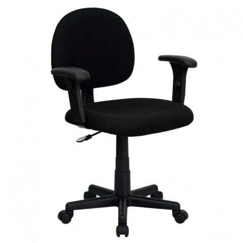 Ergonomic Black Task Chair with Adjustable Arms