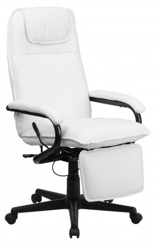 High Back White Bonded Leather Executive Reclining Office Chair