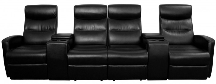 Black Leather 4-Seat Home Theater Console Recliner