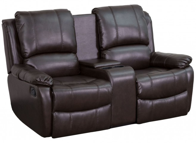 Brown Leather Pillowtop 2-Seat Home Theater Console Recliner