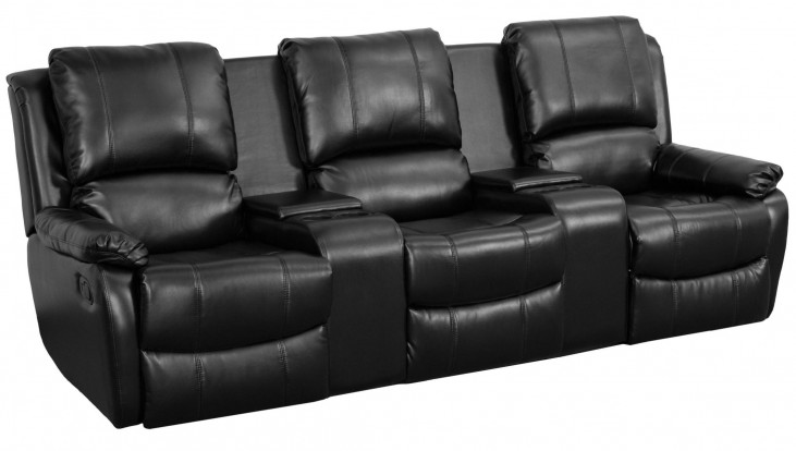 Black Leather Pillowtop 3-Seat Home Theater Console Recliner