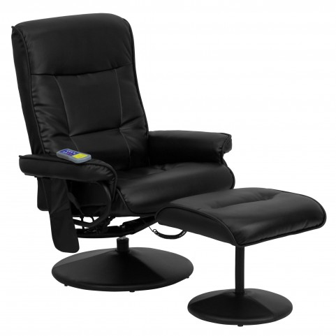 1000405 Massaging Black Recliner and Ottoman