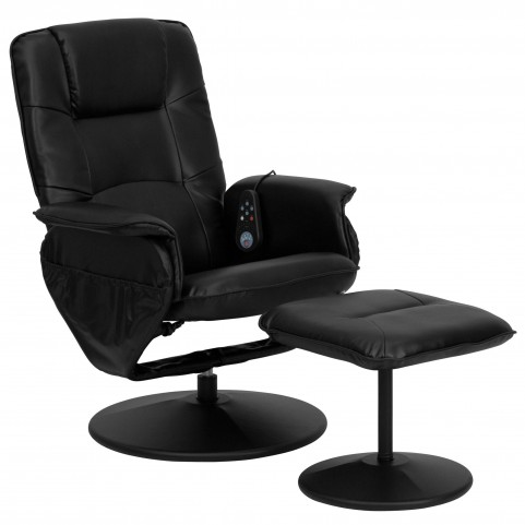 1000406 Massaging Black Recliner and Ottoman