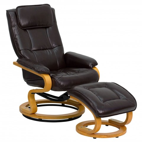 1000409 Brown Recliner and Ottoman