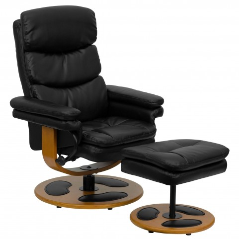 1000416 Black Recliner and Ottoman