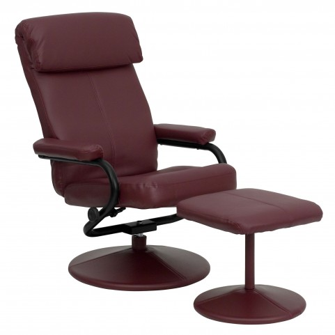 1000424 Burgundy Recliner and Ottoman
