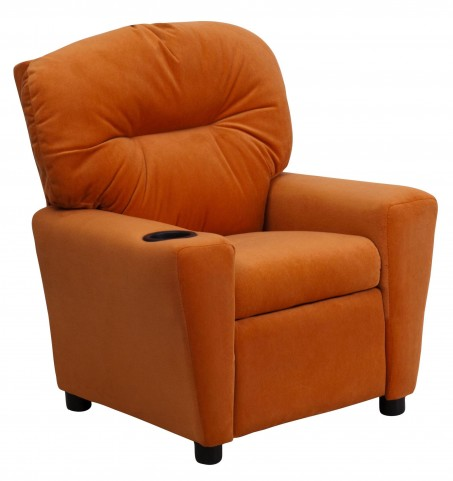 1000439 Orange Kids Recliner with Cup Holder