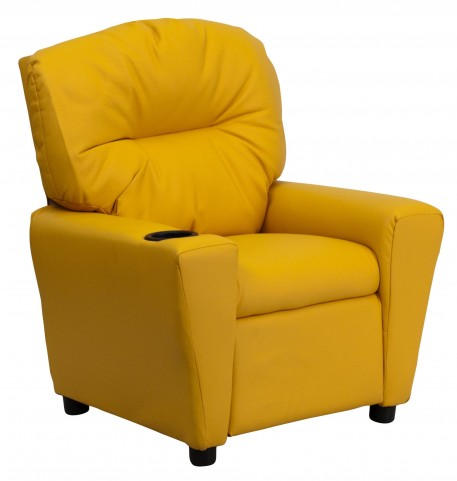 Yellow Kids Recliner with Cup Holder