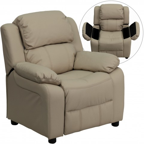 Deluxe Heavily Padded Beige Kids Storage Arm Recliner