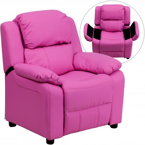 Deluxe Heavily Padded Hot Pink Kids Storage Arm Recliner