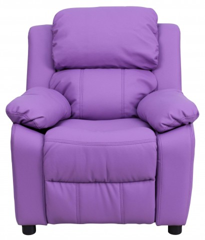 Deluxe Heavily Padded Lavender Kids Storage Arm Recliner