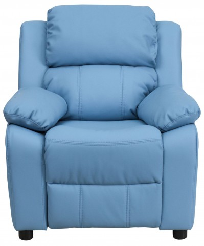Deluxe Heavily Padded Light Blue Kids Storage Arm Recliner