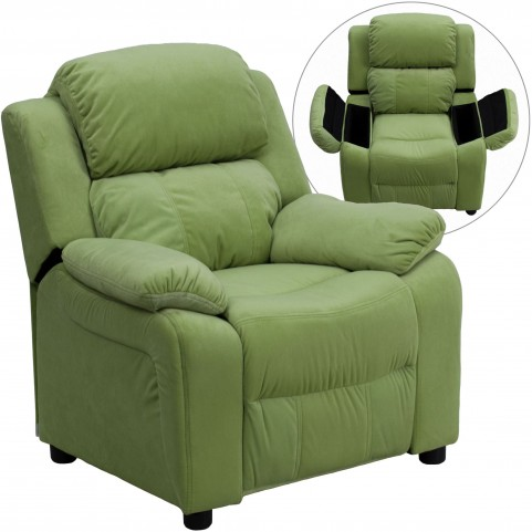 Deluxe Heavily Padded Avocado Kids Storage Arm Recliner