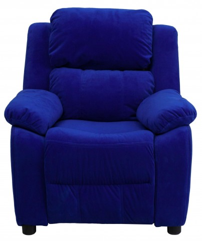 1000458 Deluxe Heavily Padded Blue Kids Storage Arm Recliner