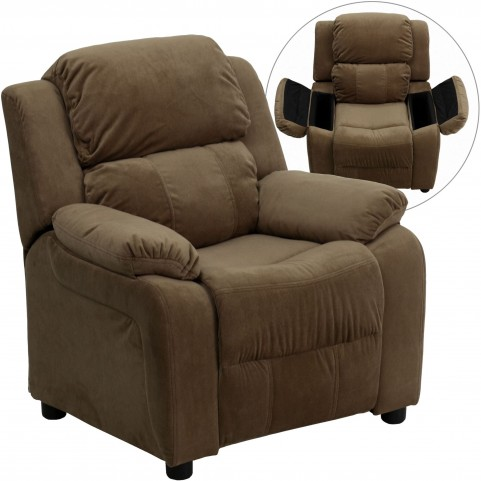 Deluxe Heavily Padded Brown Kids Storage Arm Recliner