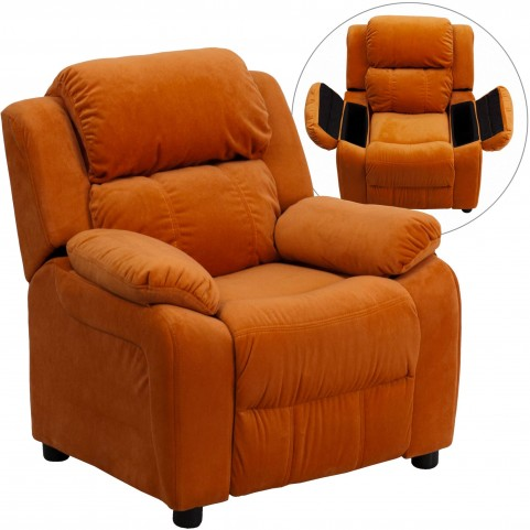 Deluxe Heavily Padded Orange Storage Arm Kids Recliner