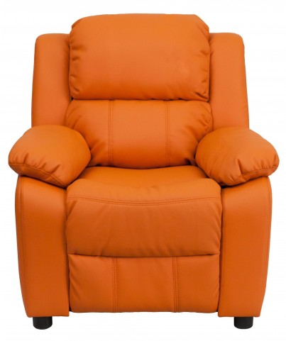 Deluxe Heavily Padded Orange Kids Storage Arm Recliner