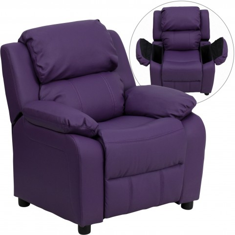 1000465 Deluxe Heavily Padded Purple Kids Storage Arm Recliner