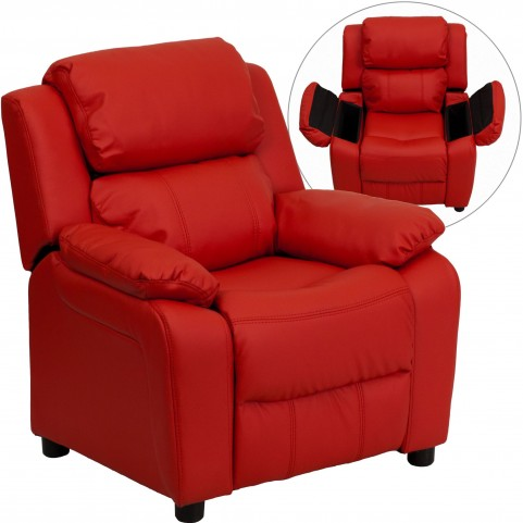 1000466 Deluxe Heavily Padded Red Kids Storage Arm Recliner
