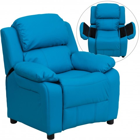 Deluxe Heavily Padded Turquoise Kids Storage Arm Recliner