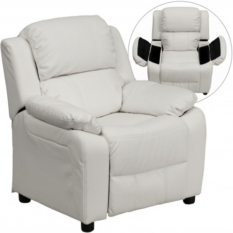 Deluxe Heavily Padded White Kids Storage Arm Recliner