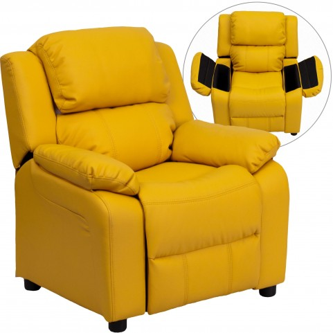 Deluxe Heavily Padded Yellow Kids Storage Arm Recliner