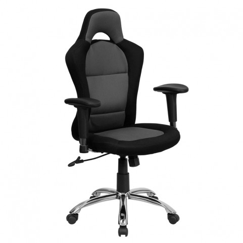 Race Car Inspired Bucket Seat Office Chair in Gray and Black Mesh