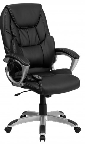 Tall Massaging Black Executive Silver Base Office Chair
