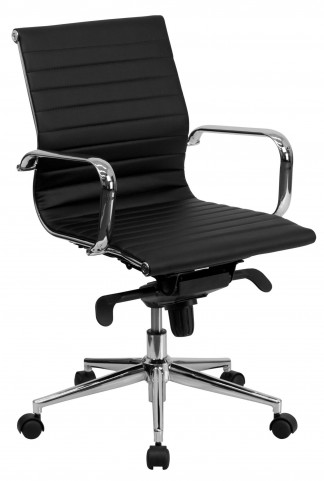Black Ribbed Upholstered Conference Chair