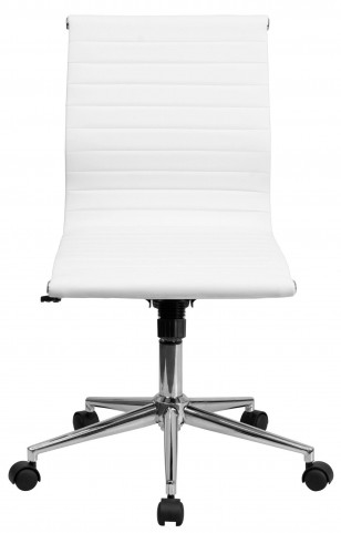 Armless White Ribbed Upholstered Conference Chair