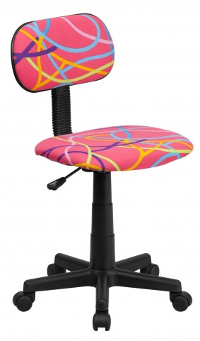 Multi Colored Swirl Printed Pink Computer Chair