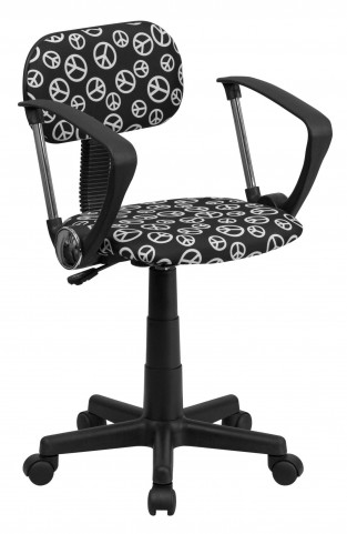 Peace Printed Computer Arm Chair