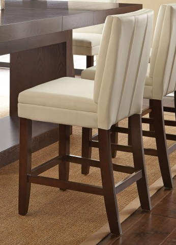 Bennett White Vinyl Counter Chair Set of 2