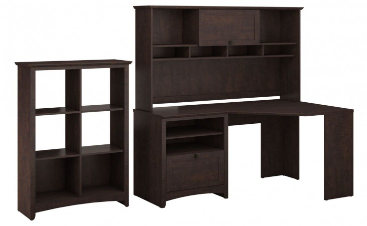 Buena Vista Madison Cherry Corner Desk With Hutch & 6 Cube Storage