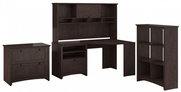 Buena Vista Madison Cherry Corner Desk With Hutch 6 Cube And Lateral File
