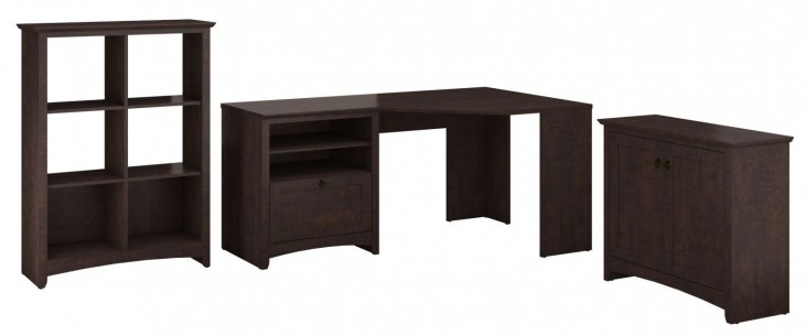 Buena Vista Madison Cherry Corner Desk With Low Storage And 6 Cube Storage