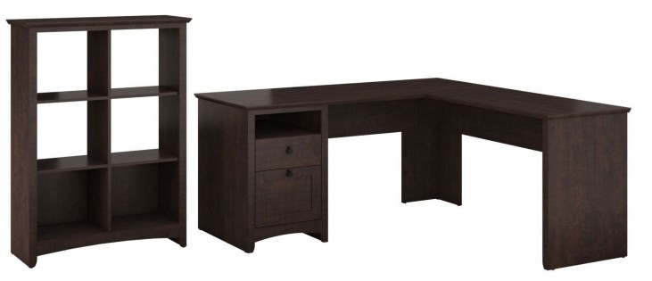 Buena Vista Madison Cherry L-Desk With 6 Cube Storage