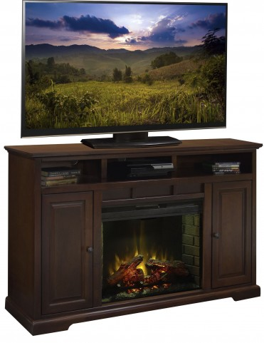 """Brentwood Danish Cherry 64"""" Fireplace Console"""