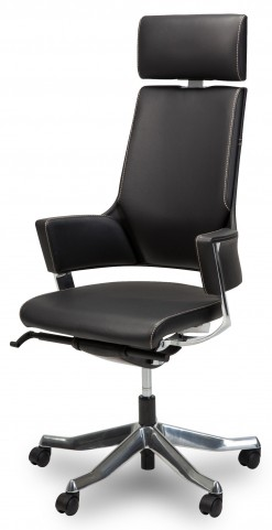 Queue High Back Black Leather Vinyl Swivel Chair