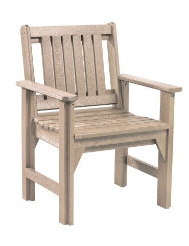 Generations Beige Slat Back Dining Arm Chair