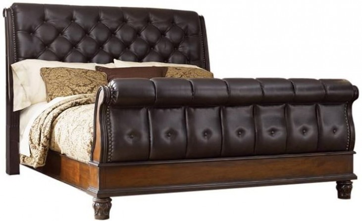 Grand Estates Cinnamon King Sleigh Bed