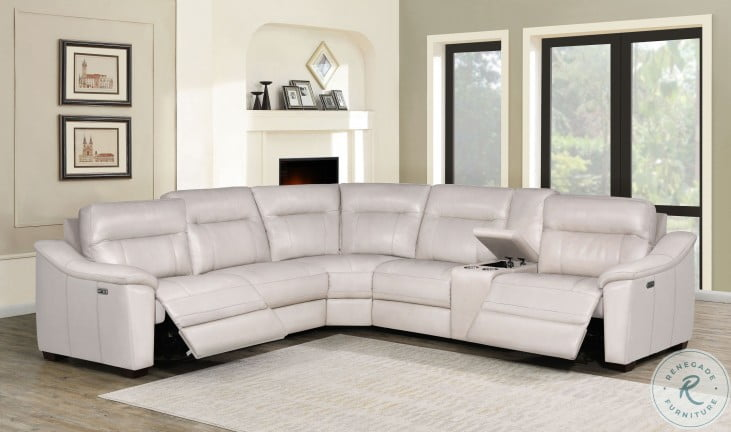 Casa Ivory Leather LAF Power Reclining Sectional