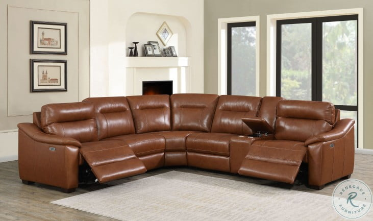 Casa Comely Coach Leather LAF Power Reclining Sectional