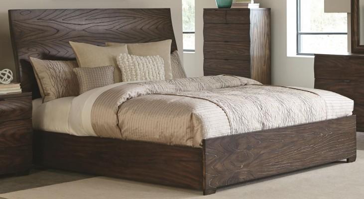 Calabasas Dark Brown King Panel Bed