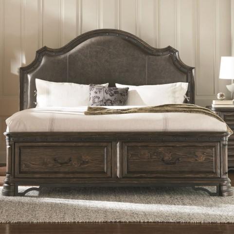 Carlsbad Dark Brown Upholstered King Panel Storage Bed