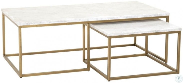 Awe Inspiring Carrera Brushed Gold And White Nesting Coffee Table Download Free Architecture Designs Pushbritishbridgeorg