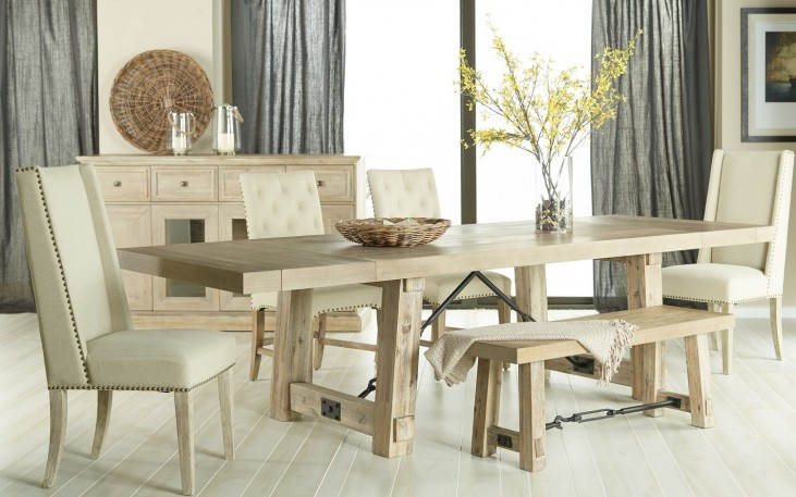 Carter Stone Wash Rectangular Extendable Dining Room Set with Wilshire Dining Chairs
