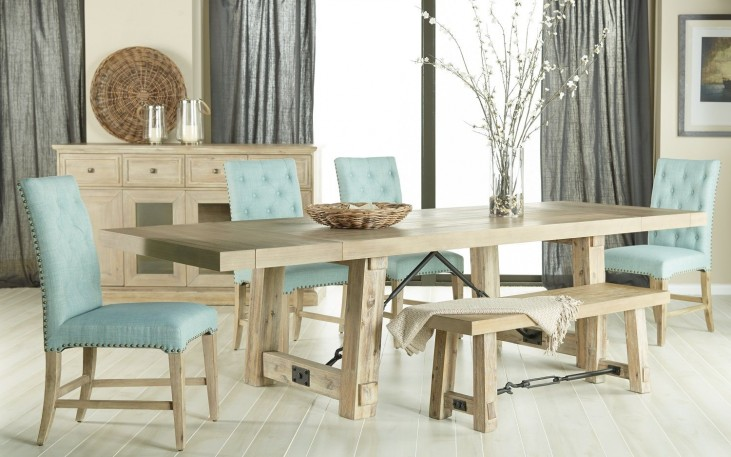 6090.SW Carter Stone Wash Rectangular Extendable Dining Room Set with Wilshire Dining Chairs 6090.SW